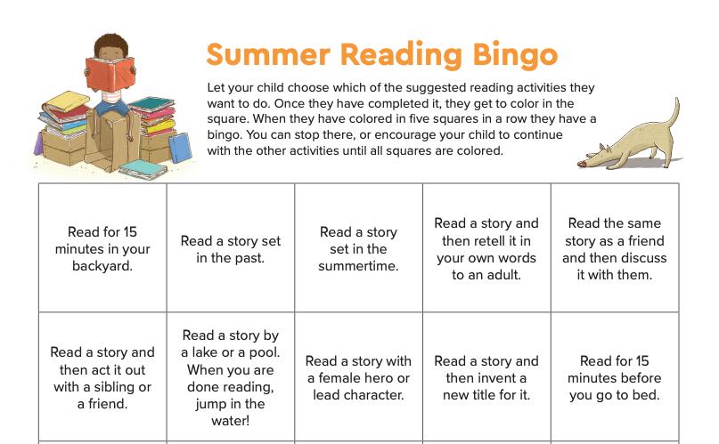 Encourage Reading with Summer Reading Bingo